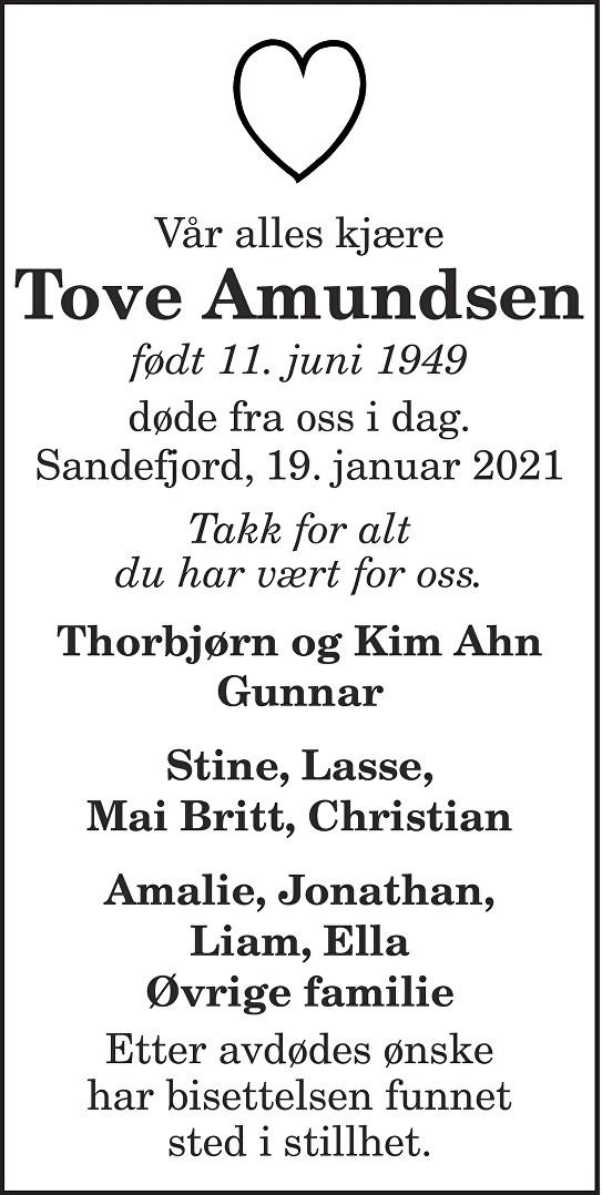 Tove Amundsen Dødsannonse