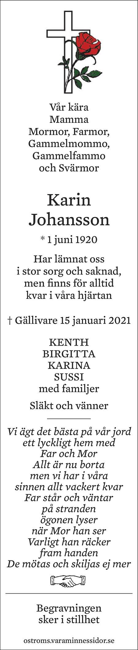 Karin Johansson Death notice