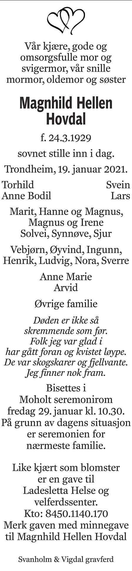 Magnhild Hellen Hovdal Dødsannonse