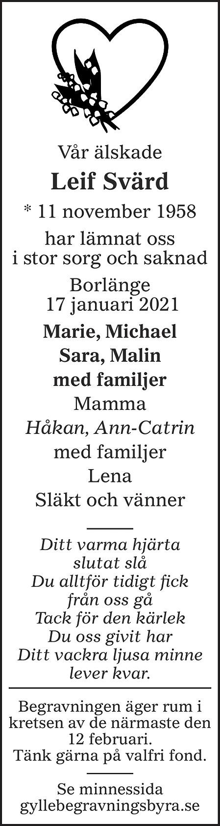 Leif Svärd Death notice