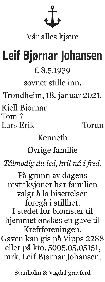 Leif Bjørnar Johansen Dødsannonse
