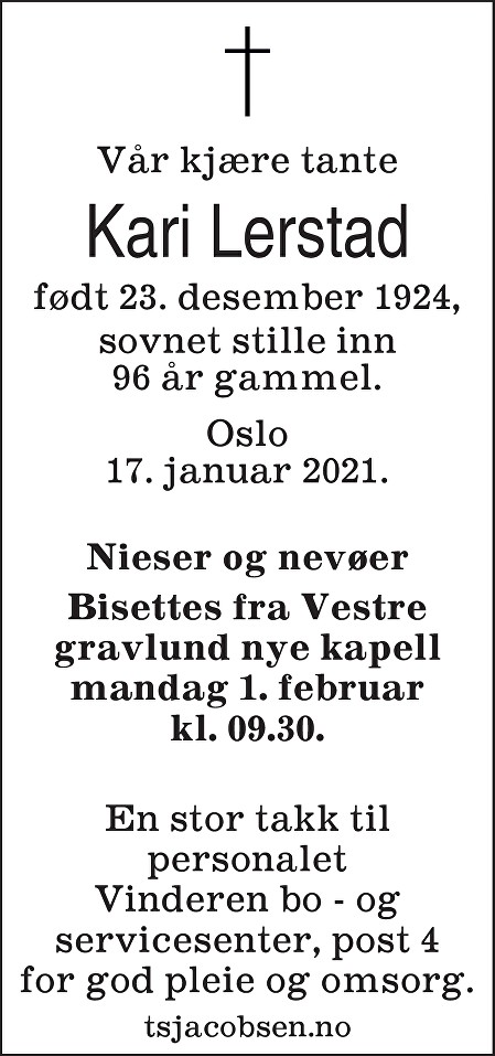 Kari Lerstad Dødsannonse