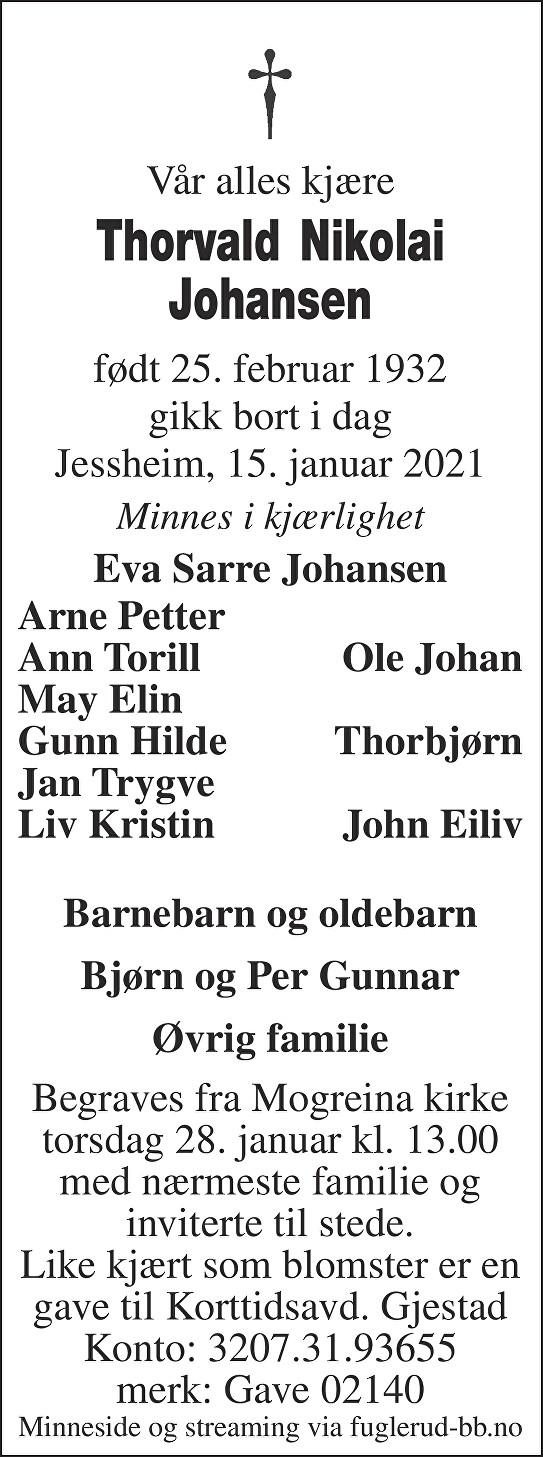 Thorvald Nikolai Johansen Dødsannonse
