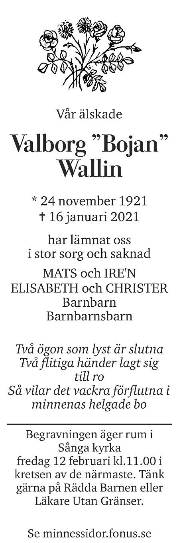 Valborg Wallin Death notice