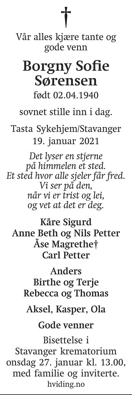 Borgny Sofie Sørensen Dødsannonse