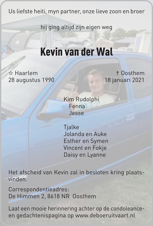 Kevin van der Wal Death notice