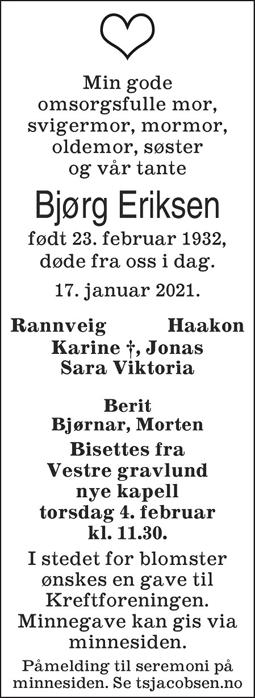 Bjørg Eriksen Dødsannonse