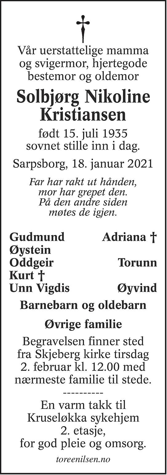 Solbjørg Nikoline Kristiansen Dødsannonse