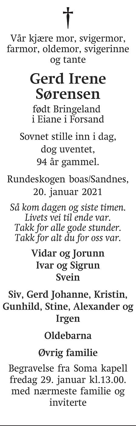 Gerd Irene Sørensen Dødsannonse
