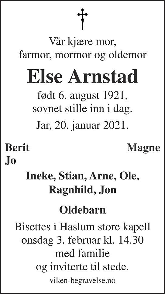 Else Arnstad Dødsannonse