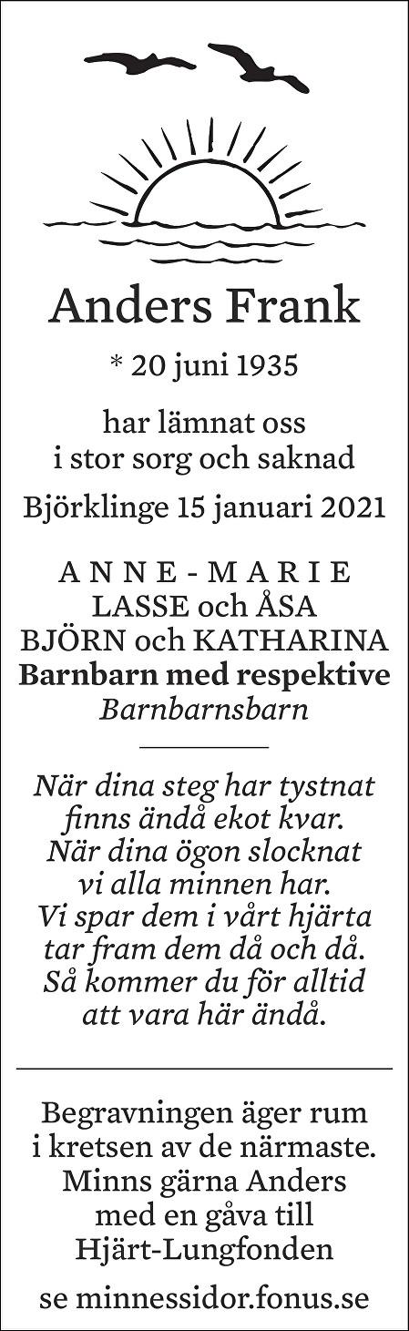 Anders Frank Death notice