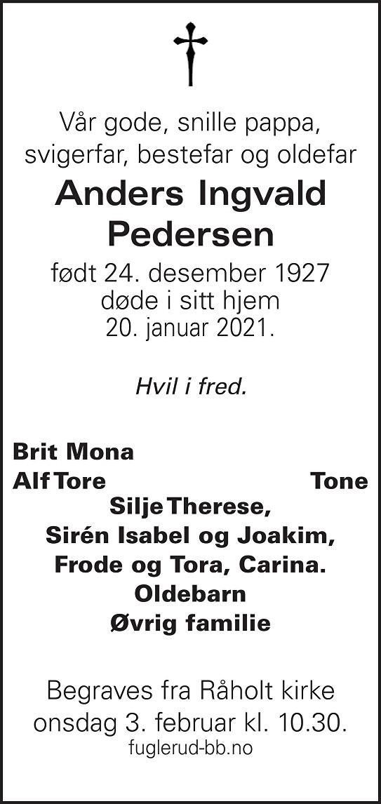 Anders Ingvald Pedersen Dødsannonse