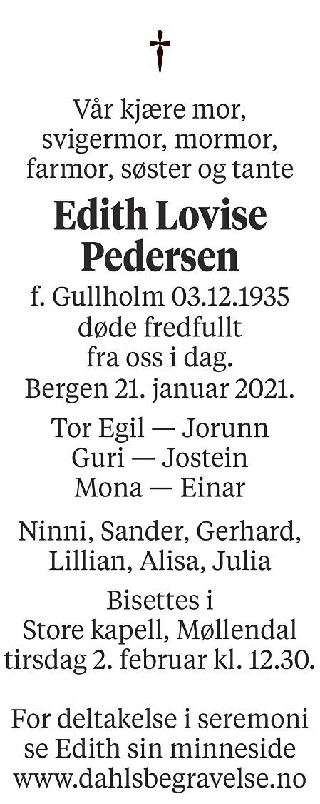 Edith Lovise Pedersen Dødsannonse