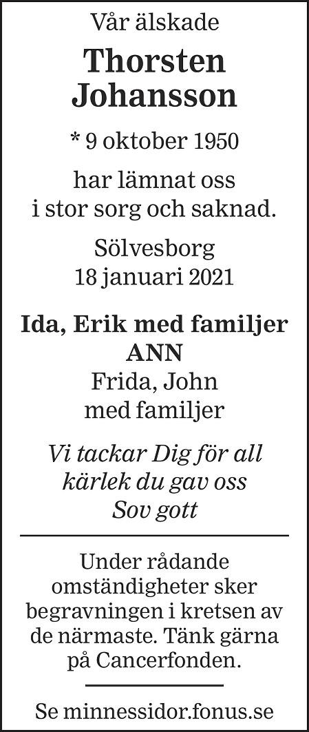 Thorsten Johansson Death notice