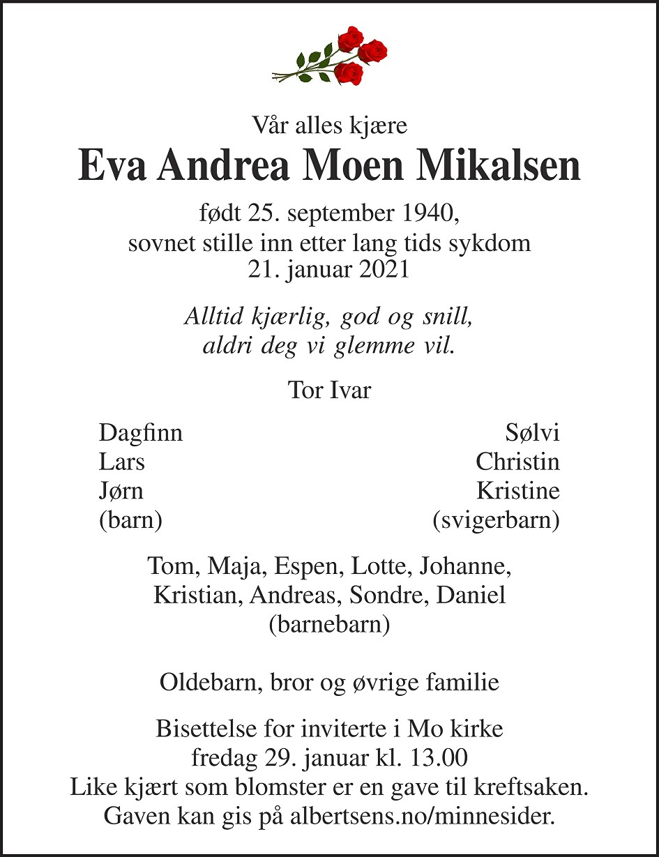 Eva Andrea Moen Mikalsen Dødsannonse