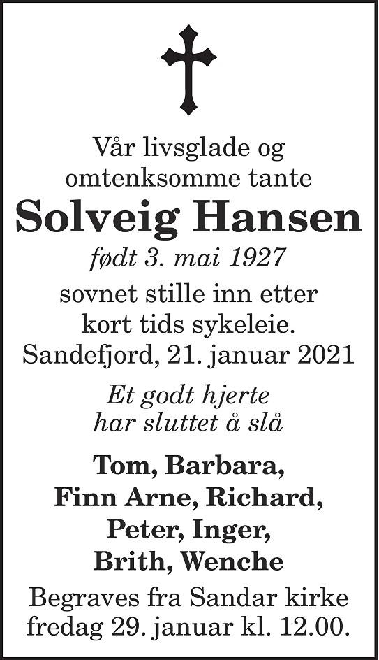 Solveig Hansen Dødsannonse