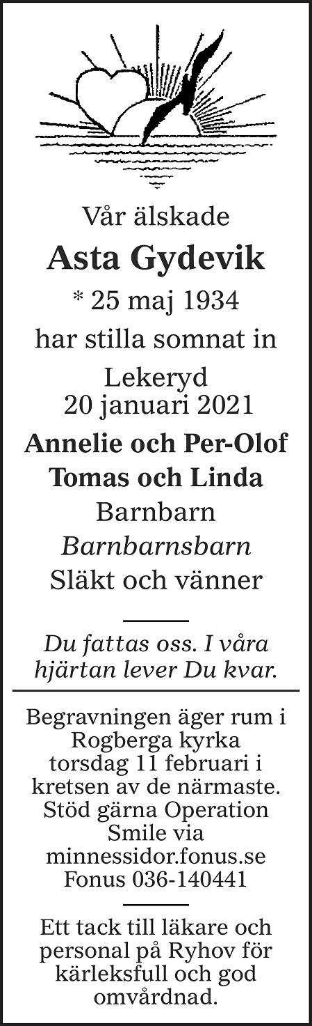 Asta Gydevik Death notice