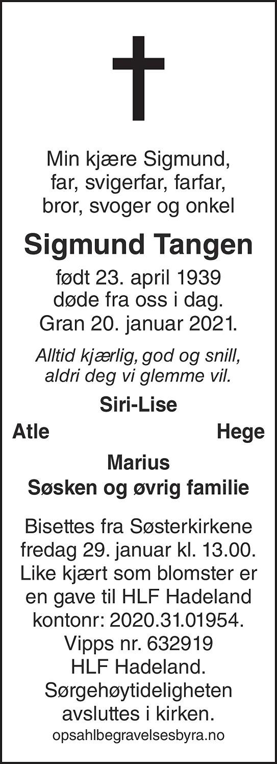 Sigmund Tangen Dødsannonse