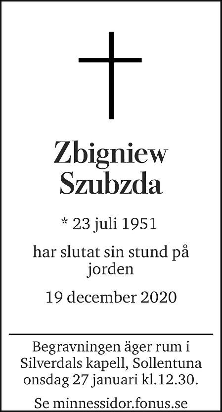 Zbigniew Szubzda Death notice