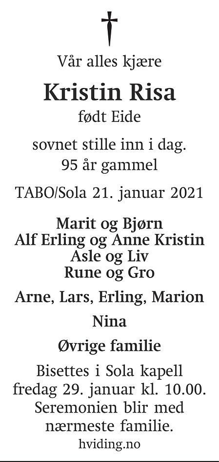 Kristin Herdis Risa Dødsannonse