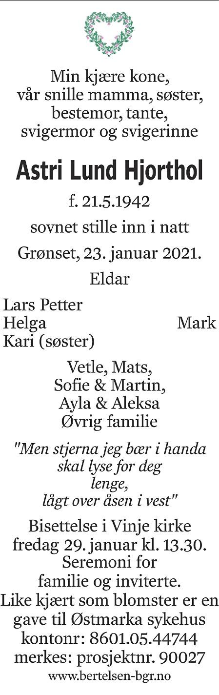 Astri Lund Hjorthol Dødsannonse