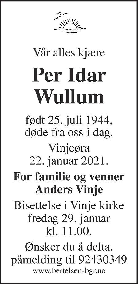 Per Idar Wullum Dødsannonse