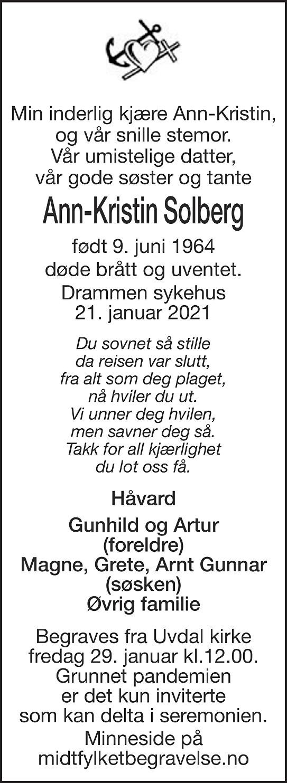 Ann-Kristin Solberg Dødsannonse