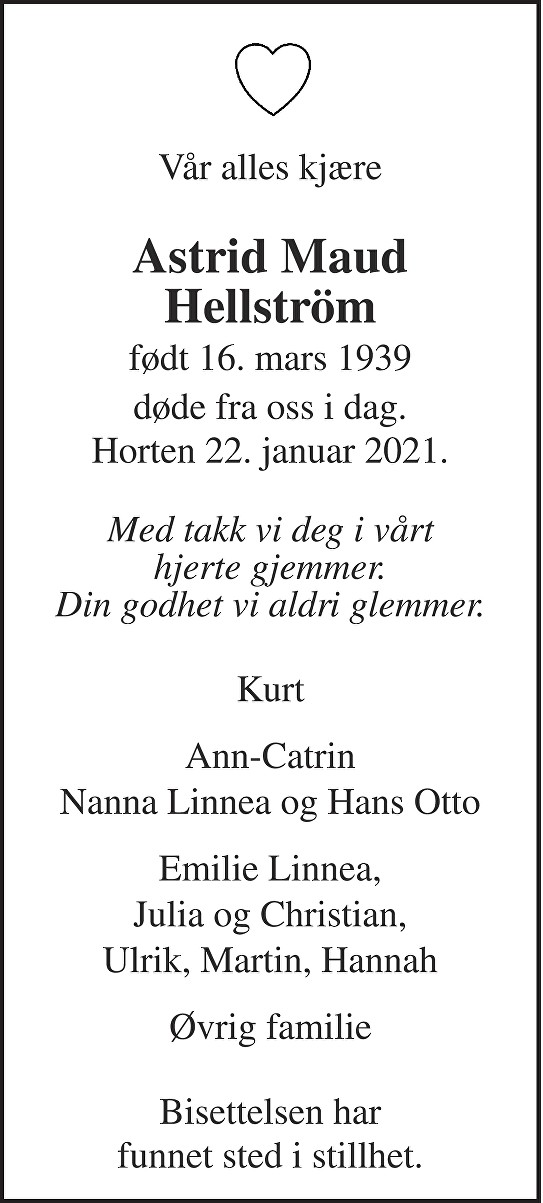Astrid Maud Hellström Dødsannonse