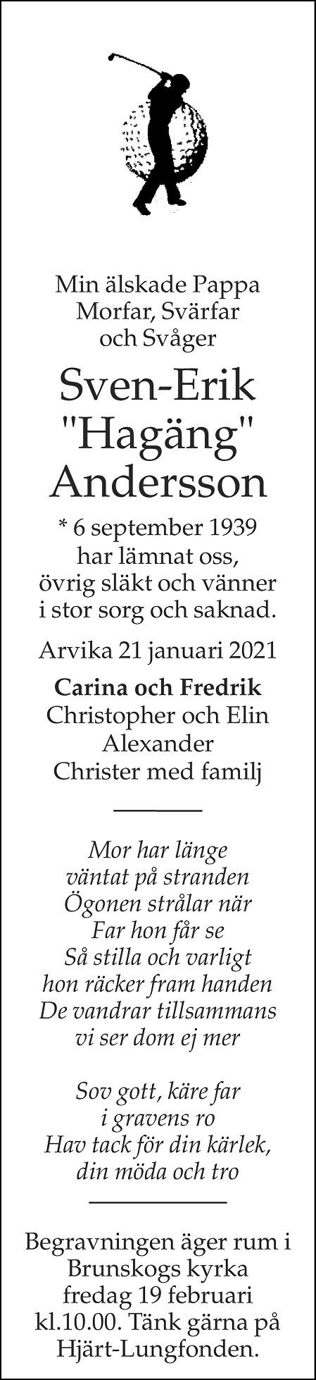 Sven-Erik Andersson Death notice