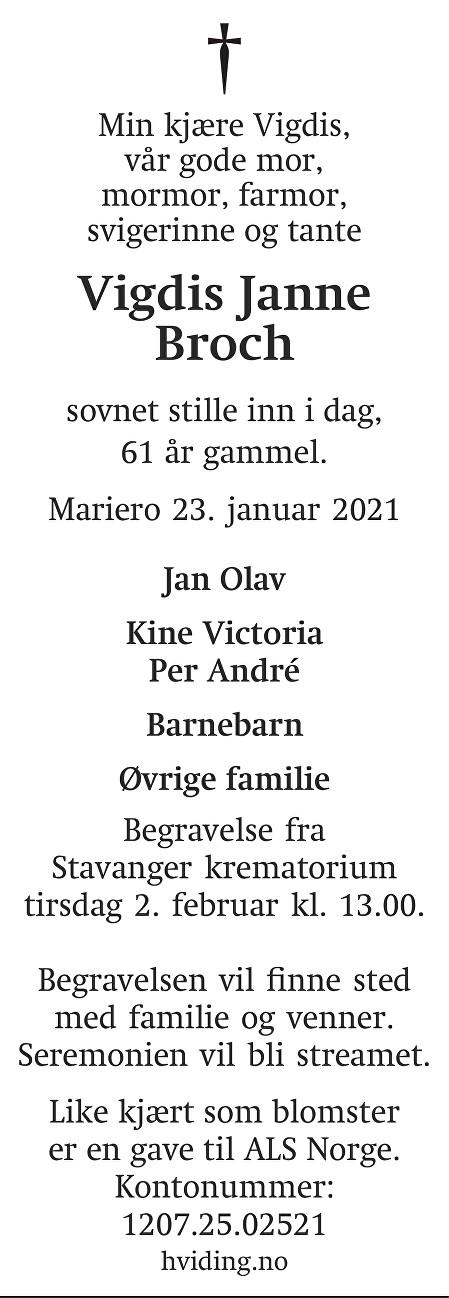 Vigdis Janne Broch Dødsannonse