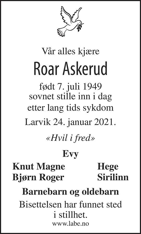 Roar Askerud Dødsannonse