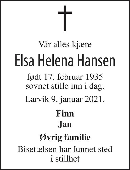 Elsa Helena Hansen Dødsannonse