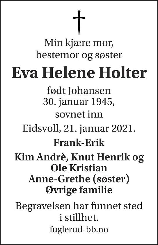 Eva Helene Holter Dødsannonse