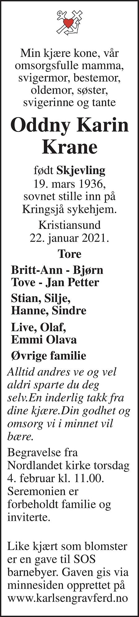 Oddny Karin Krane Dødsannonse