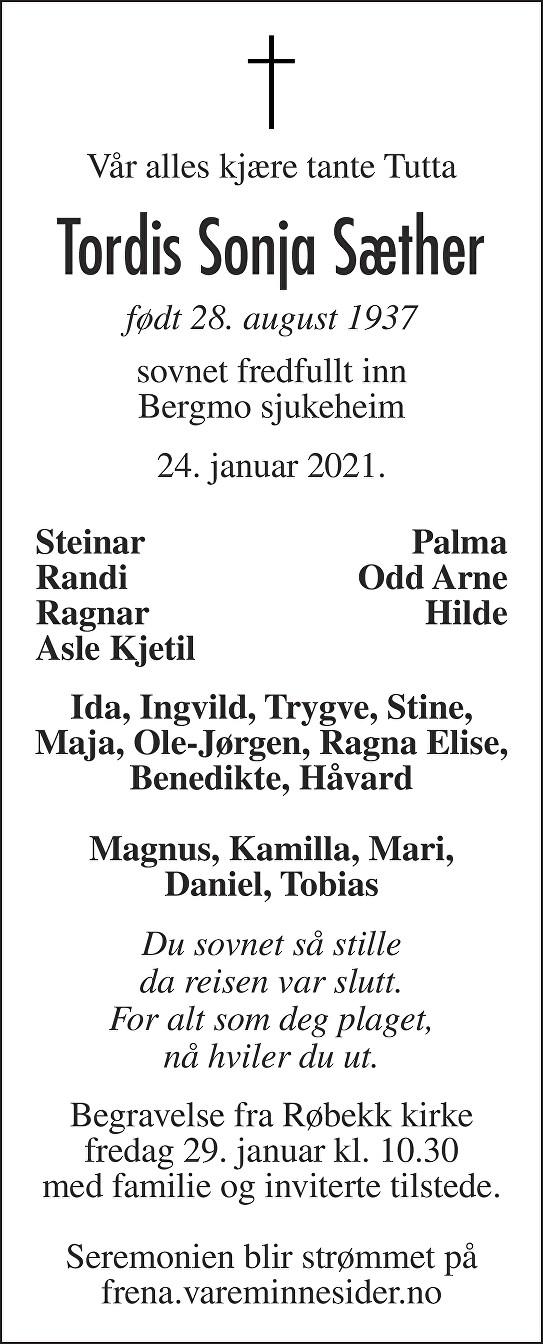 Tordis Sonja Sæther Dødsannonse