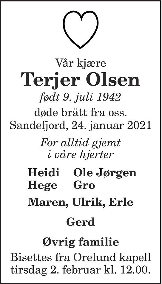 Terjer Olsen Dødsannonse