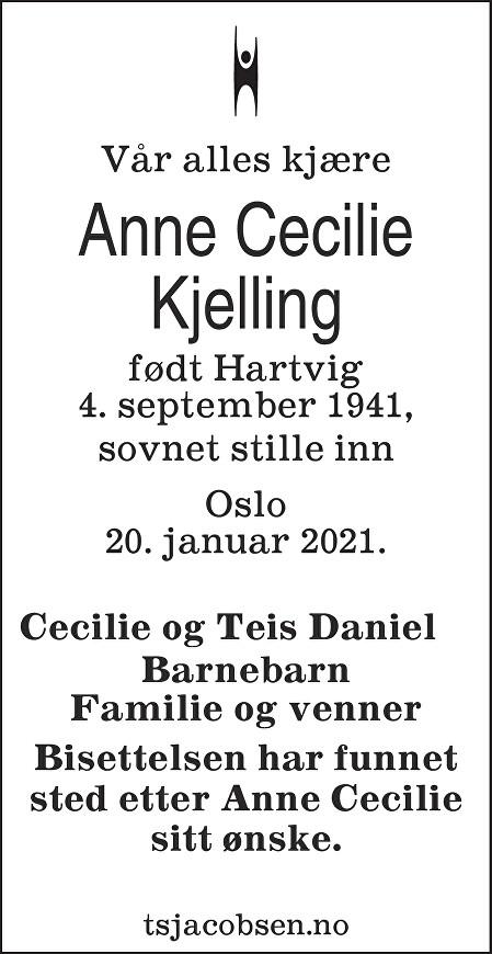 Anne Cecilie Kjelling Dødsannonse