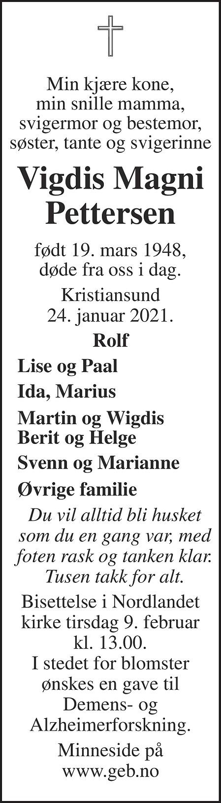 Vigdis Magni Pettersen Dødsannonse