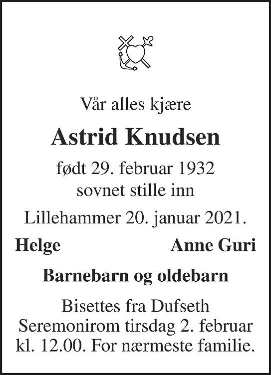 Astrid Knudsen Dødsannonse