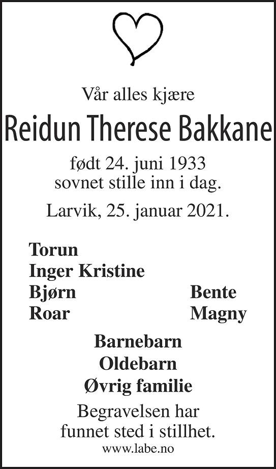 Reidun Therese Bakkane Dødsannonse