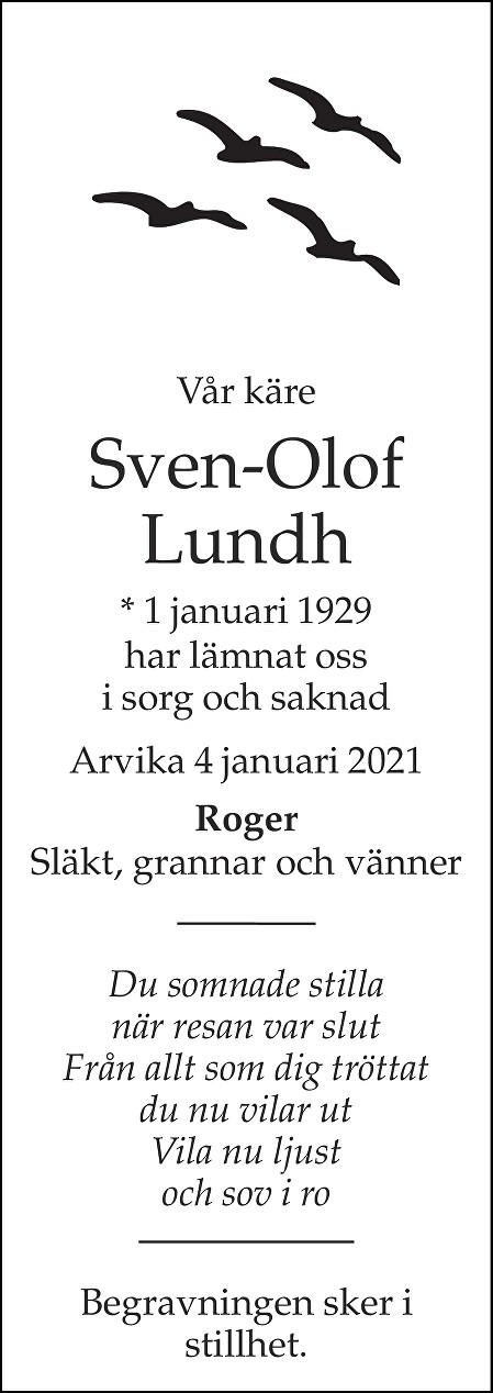 Sven Olof Lundh Death notice