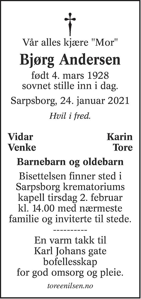 Bjørg Solveig Andersen Dødsannonse
