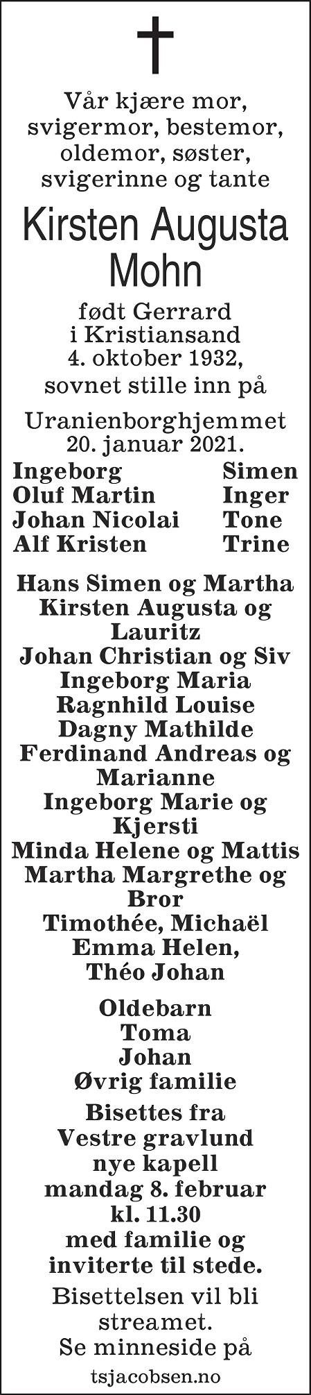Kirsten Augusta Mohn Dødsannonse