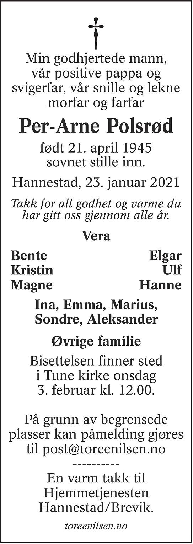 Per Arne Polsrød Dødsannonse