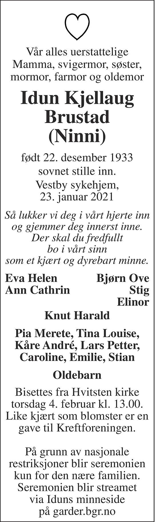 Idun Kjellaug Brustad Dødsannonse