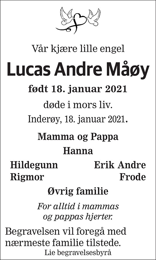 Lucas Andre Måøy Dødsannonse