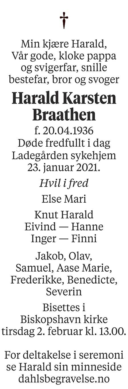 Harald Karsten Braathen Dødsannonse