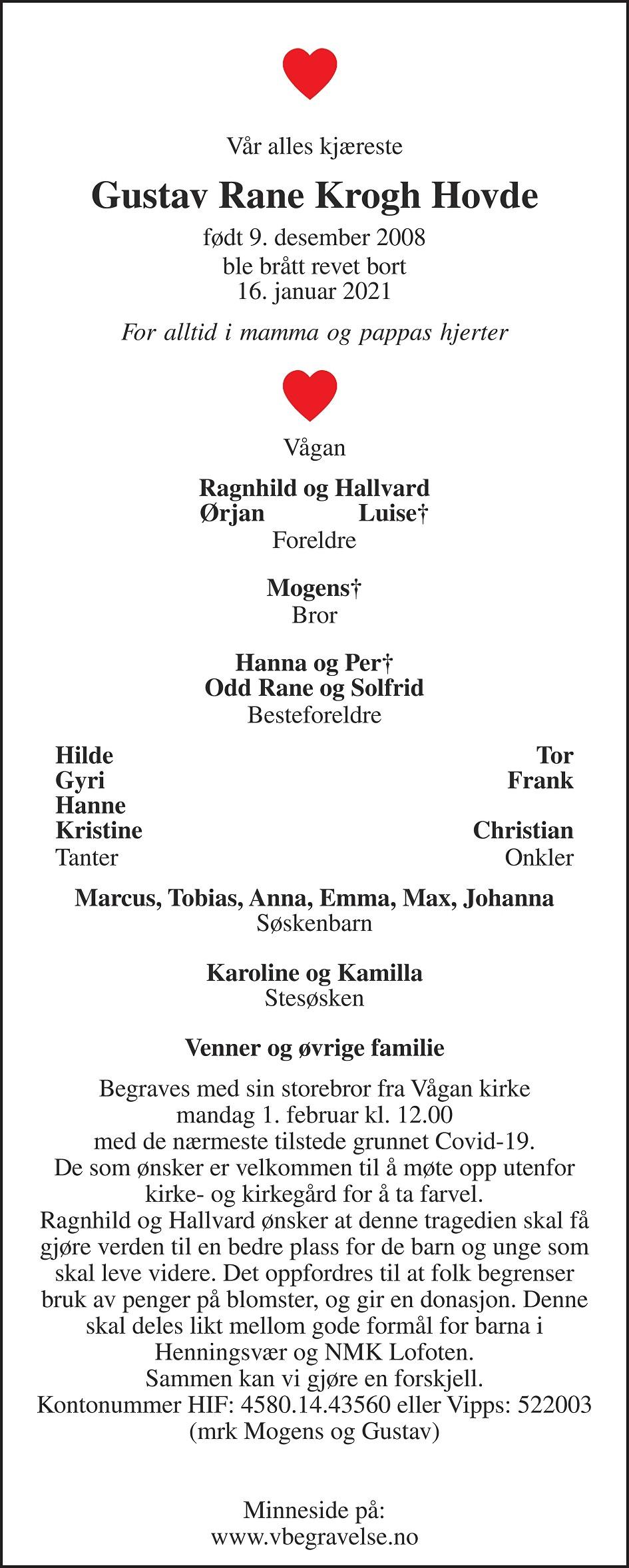 Gustav Rane Krogh Hovde Dødsannonse