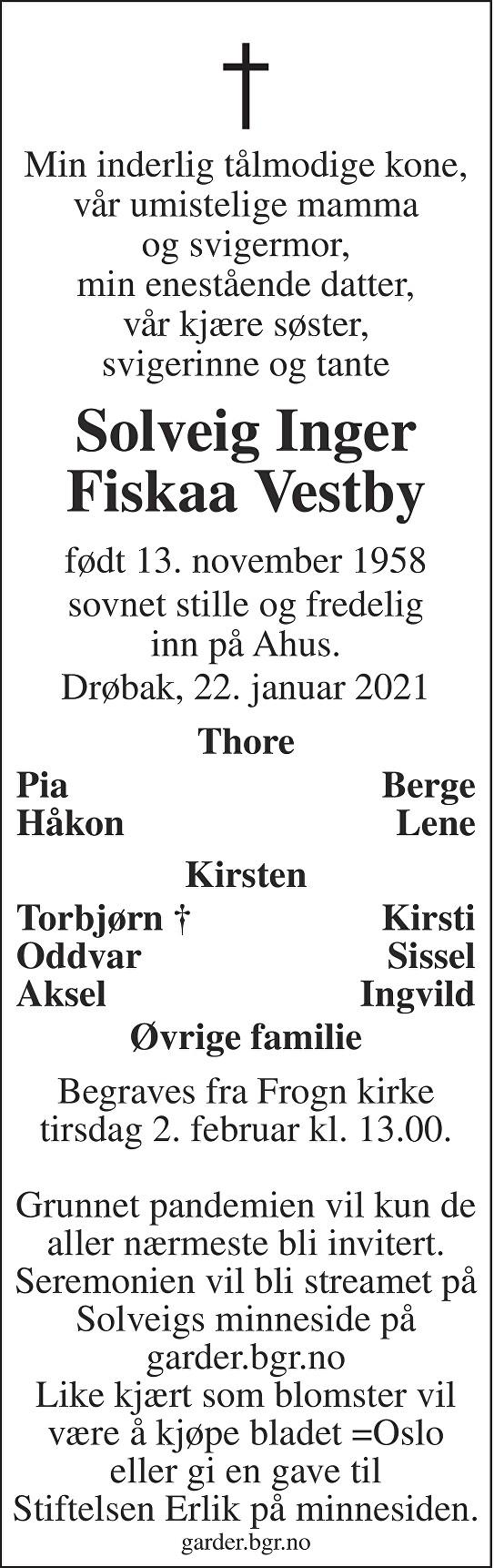 Solveig Inger Fiskaa Vestby Dødsannonse