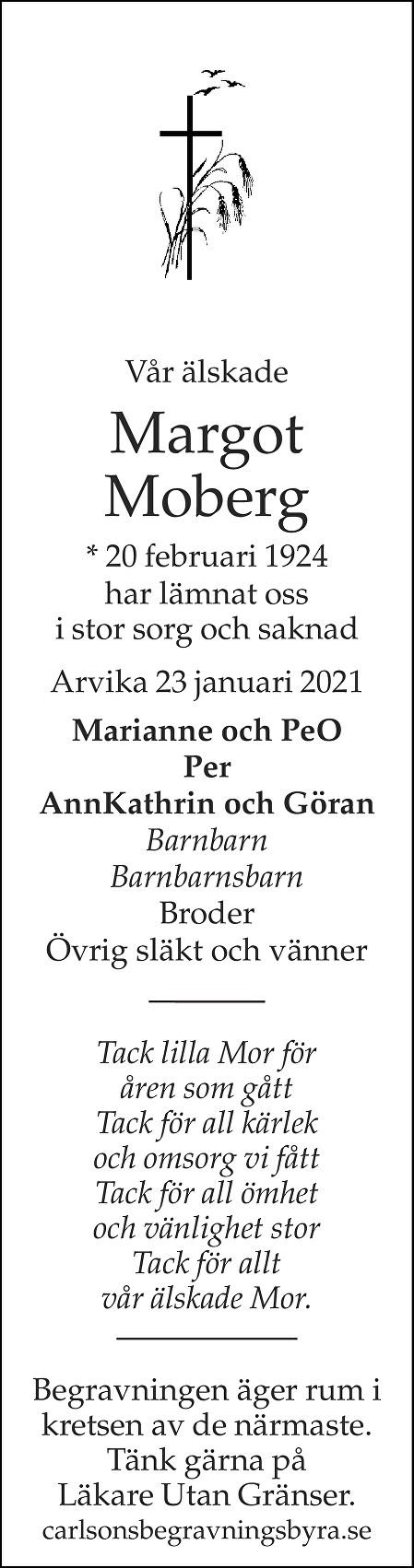 Margot Moberg Death notice